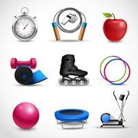Fitness pictogrammen instellen vector