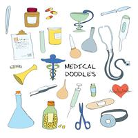 Medische symbolen emblemen doodle set