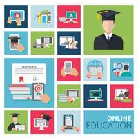 Online onderwijs plat pictogrammen vector