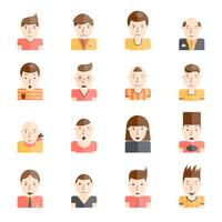 Man gezichten pictogrammen plat