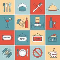 Restaurantpictogrammen geplaatst vlakke lijn vector