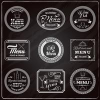 Retro menu labels schoolbord