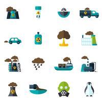 vervuiling pictogram plat vector