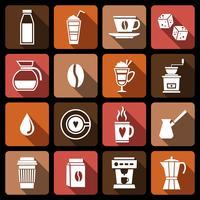 Koffie pictogrammen wit