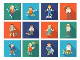 Kinderen spelen pictogrammen vector