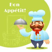 Chef-kok met lade Poster vector
