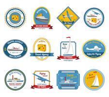 Cruise reisbureau tours labels gekleurd vector