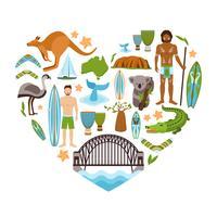 Australië hartvorm vector