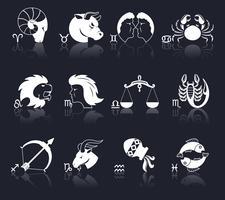 dierenriem pictogrammen wit