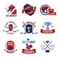 Hockey emblemen instellen vector