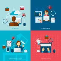 Freelance platte set vector