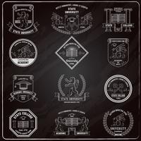 universiteitslabels schoolbord vector