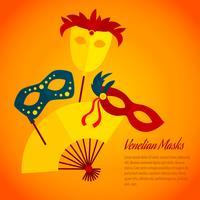 Carnaval pictogram platte poster afdrukken vector