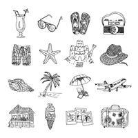 Zomervakantie doodle schets isons ingesteld