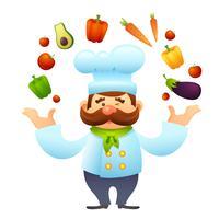 Chef-kok met groenten vector