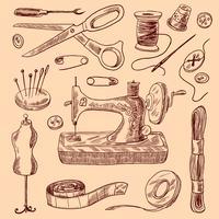 Naaien pictogrammen Sketch Set vector