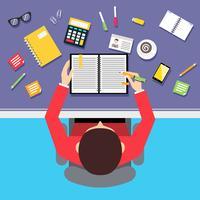 Bovenaanzicht zakenman werkplek