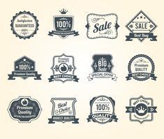 Zwarte retro verkoop labels pictogrammen collectie vector
