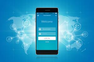 Smartphone sociaal netwerk vector