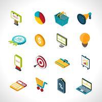 Marketing isometrische pictogrammen