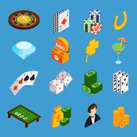 Casino isometrische Icons Set vector