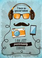 Hipster poster met vintage accessoires en items vector