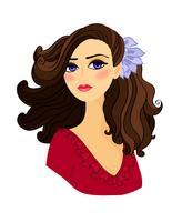 Portret van mooi geïsoleerd meisje vector