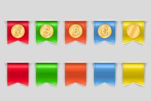 Verzameling van munten voor financiën vector