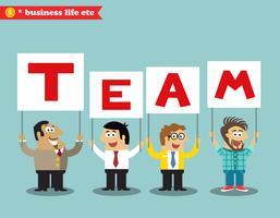 Kantoorpersoneel houdt teamteken vector