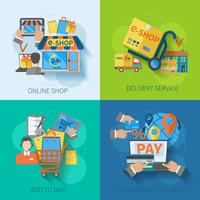 Winkelen E-commerce Flat vector