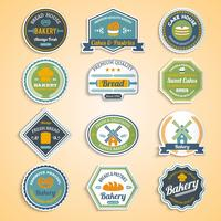Bakkerij Stickers Set vector