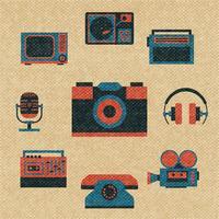 vintage media iconen vector