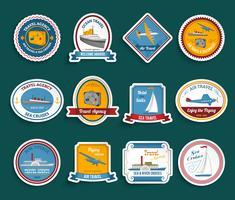 Cruise reisbureau stickers set vector