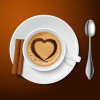 Realistische witte kop gevuld met koffie vector