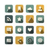 Vintage sociale media iconen set