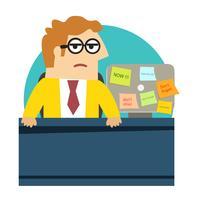 Bezorgd boos kantoormedewerker aan de balie vector