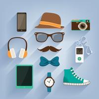 Hipster-accessoires items instellen vector
