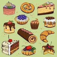 Taarten en meelproducten voor bakkerij, gebak vector