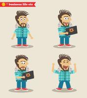 Ervaren IT-guy-emoties in poses, staande set vector