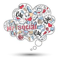 Doodle sociale media infographics vector