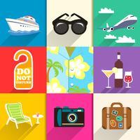 Reis- en vakantie pictogrammen instellen vector