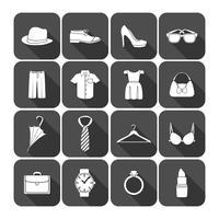 Mannen en vrouwen kleding accessoires pictogrammen vector