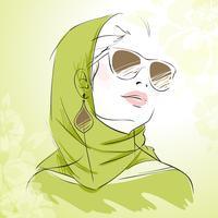 Lente mode meisje portret in groene kleuren vector