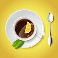 Realistische witte kop met zwarte thee