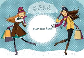 Wintervakantie winkelen promo vector