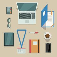 Kantoorwerkplek met mobiele apparaten en documenten