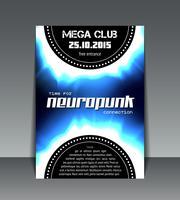 neuropunk party flyer vector