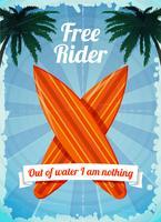 Gratis ruiter surfplanken poster vector