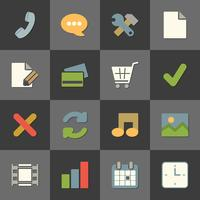 Online shopping website iconset, kleur plat vector