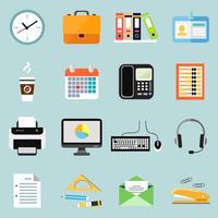 Zakelijke kantoorbenodigdheden briefpapier pictogrammen